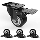 """3"""" Swivel Caster Wheels with Safety Dual Locking and Polyurethane Foam No Noise Wheels, Heavy Duty - 250 Lbs Per Caster (Pack"""