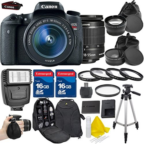 Canon EOS Rebel T6s 24.2MP EF-S 18-55mm IS STM Digital SLR Kit +2pc 16GB High Speed Memory Cards +Memory Card Reader +4pc Macro Close Up Lens +UV Filter +Professional Tripod - International Version