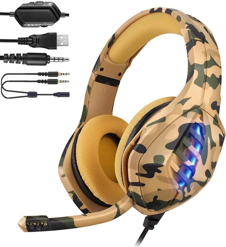 YJY Gaming Headset,Stereo Gaming Headphones for PS4, PC,Xbox One Controller,Over Ear Headsets with Noise Cancelling Mic,Bass Surround Sound,7 Colors LED Light,Comfortable Earmuffs for Laptop Mac,Coma