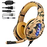 YJY Gaming Headset for PS4,PC, Xbox One Controller,Over Ear Gaming Headphones with Noise Cancelling Mic,7 Colors LED Light, B
