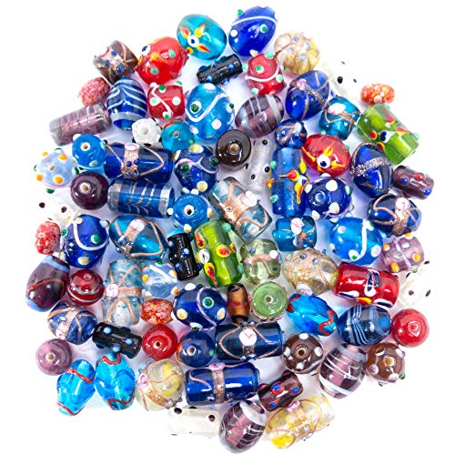 Art Glass Focal Bead - Glass Beads for Jewelry Making Supplies for Adults, 60-80 Pcs Bulk Kits - Premium Assorted Mix of Large Craft Lampwork Murano Beads for Bracelet and Necklace Crafting Supplies Kit