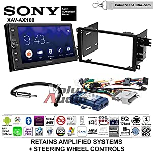 Volunteer Audio Sony XAV-AX100 Double Din Install Kit with Bluetooth Android Auto Apple Carplay No CD For 2003-2005 Chevrolet Blazer, 2003-2006 Silverado, Suburban