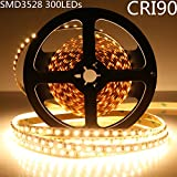 LightingWill LED Strip Light CRI90 SMD3528 16.4Ft(5M) 300LEDs Warm White 3000K-3500K 60LEDs/M DC12V 24W 4.8W/M 8mm White PCB Flexible Ribbon Strip with Adhesive Tape Non-Waterproof H3528WW300N