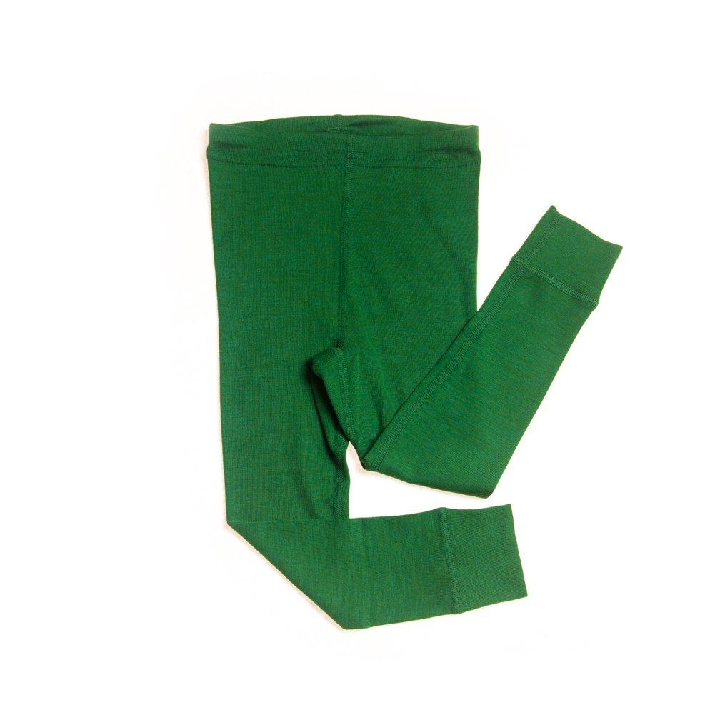 Hocosa of Switzerland Big Kids Organic Wool-Silk Long-Underwear Pants, Green, s. 128/8 yr