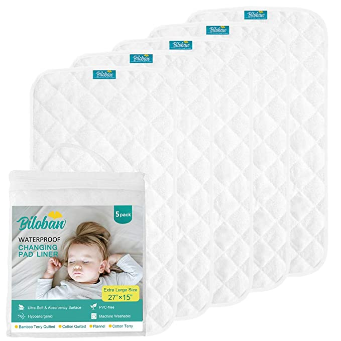 Large Baby Diaper Changing Pad Liners Soft Cotton Bamboo Waterproof Changing Pad for Baby Underpads Mattress Pad Sheet Protector Portable Reusable Urine Pad for Travel Gear 27.5x37.5 inches