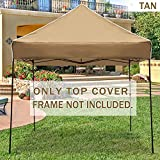 Strong Camel Ez pop Up Canopy Replacement Top instant 10'X10' gazebo EZ canopy Cover patio pavilion sunshade plyester-Tan Color
