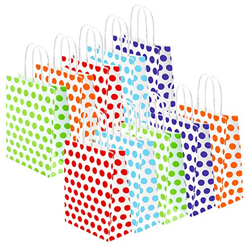 Coobey 20 Pieces Paper Party Bags Gift Bag Kraft Bag with Handle for Birthday, Tea Party, Wedding and Party Celebrations, Multicolour (Set C)