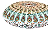 ANJANIYA 32'' Mandala Bohemian Yoga Meditation Floor Pillow Comfortable Home Car Bed Sofa Cushion Cover Couch Seating Large Zipped Throw Hippie Decorative Ottoman Boho Indian (Multi)