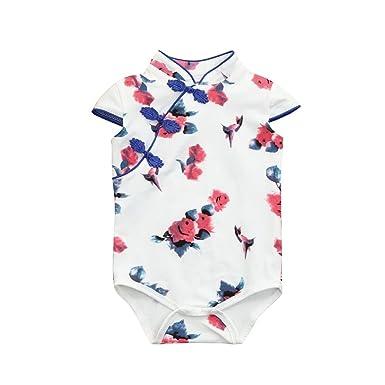 825cbf43d7ef MITIY Kids Clothes Baby Bodysuit MITY Toddler Baby Girls Flower Sleeveless  Cheongsa Chinese Style Romper Jumpsuit