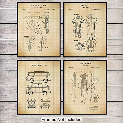 Surfing Patent Art Prints - Vintage Tropical Wall Art Poster Set - Chic Rustic Ocean Home Decor for Beach House, Man Cave, Living Room, Bedroom, Game Room - Gift for Surfers - 8x10 Photos Unframed