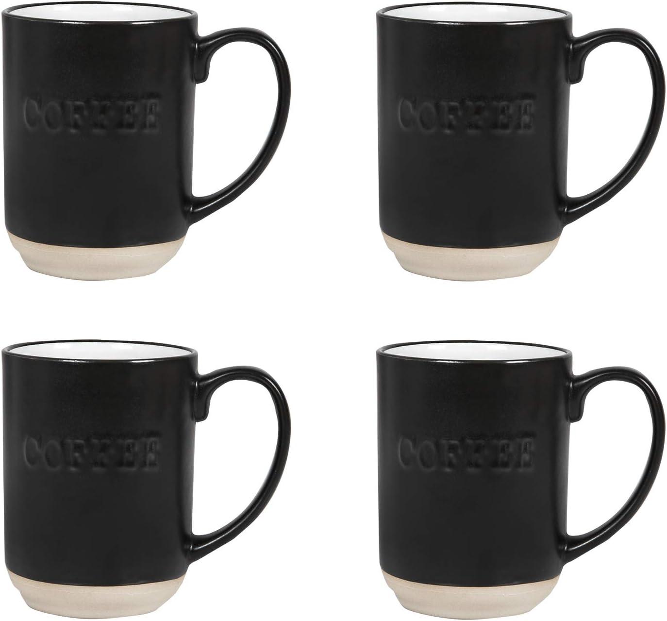 Sheffield Home Set of Stoneware Coffee Mugs- 4 Printed Coffee Cups, Tea Cups, Latte Mugs 15 oz (Black)