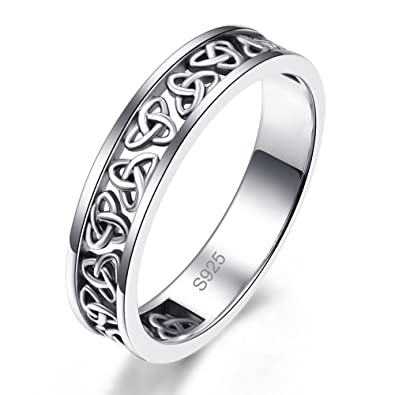 MunkiMix 925 Sterling Silver Band Ring Silver Tone Triquetra Irish Celtic Knot Eternity Wedding Love Women KEdPh