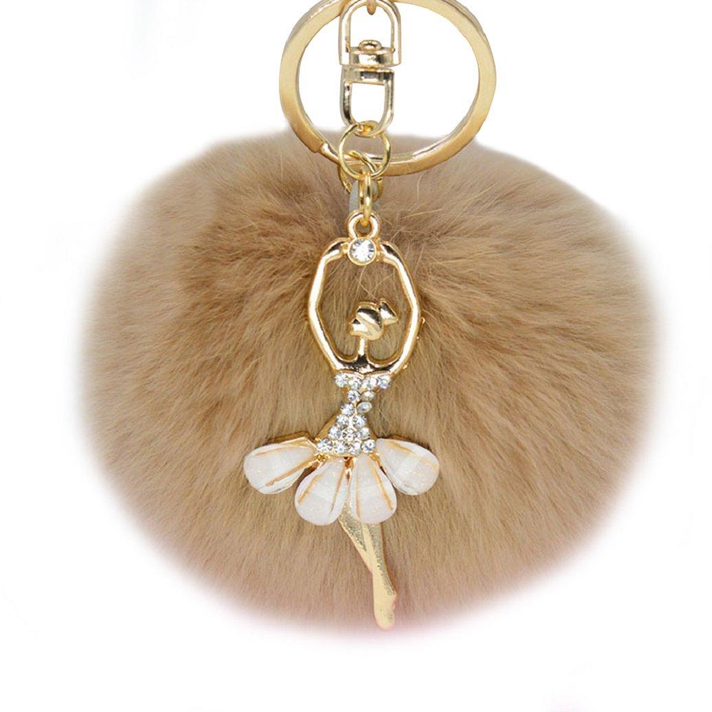 JYS Sweet Women Ball Pom Pom Keyring Keychain Handbag Charm Gift with Dancing Angle 1QY160044CXN775238