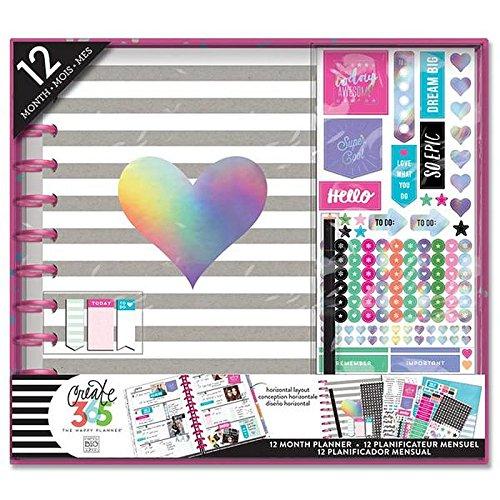 Horizontal Planner (me & my BIG ideas  BOX-116 Create 365 The Happy Planner Box Kit 12 Month Undated, Big Rainbow Foil (Horizontal))