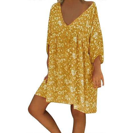 d70998acdda4a Bluestercool Soldes Casual Robes Femmes Été Manches Courtes Couleur Unie  Grande Taille Robes de Plage Dames