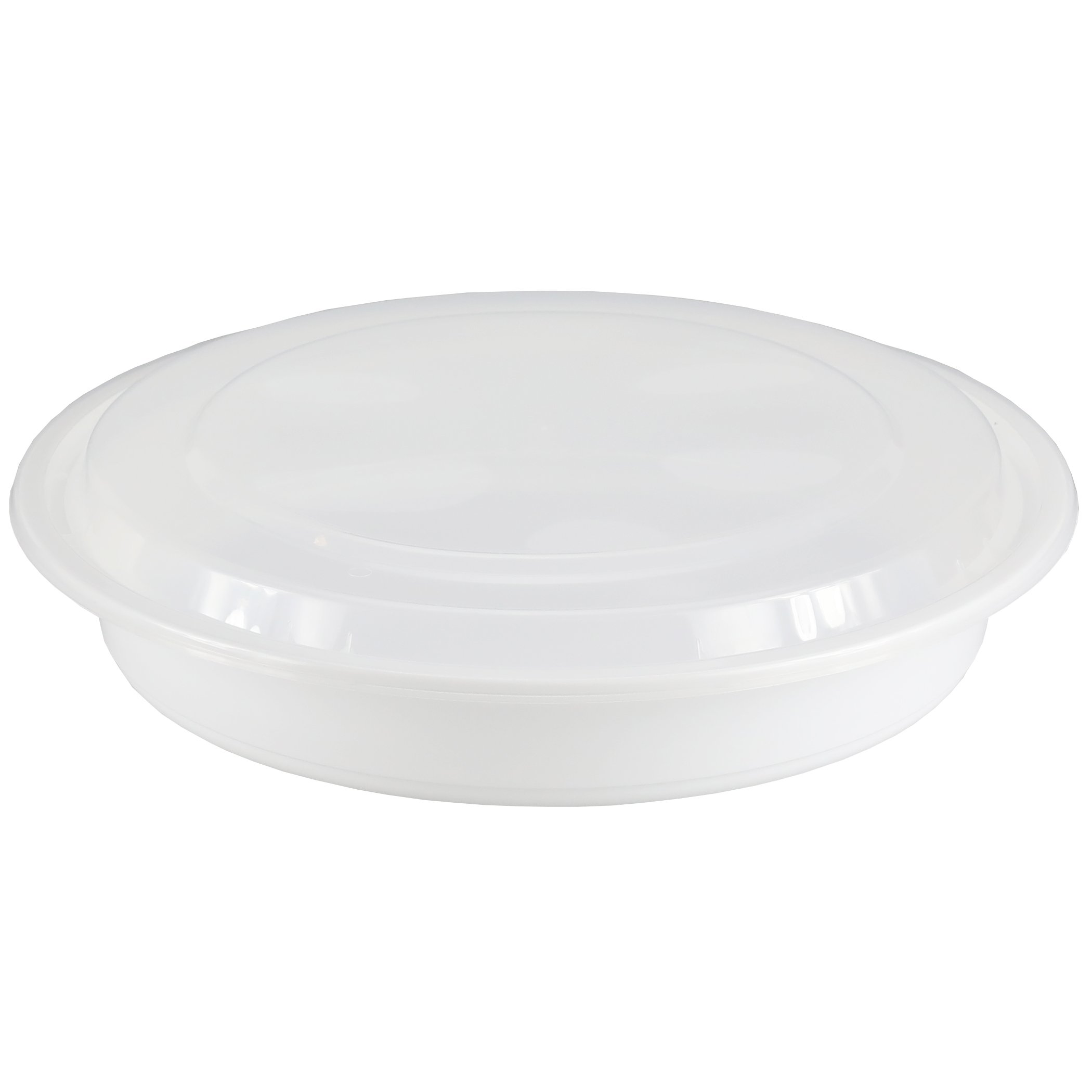 Simply Deliver 9-Inch Medium Round Container with Clear Lid, Microwavable, White, 150-Count
