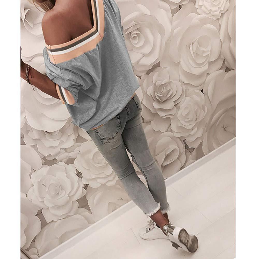 S-XL Clearance Sale Damen Pulli Elegant Langarm T-Shirt Yogogo Warme V-Ausschnitt Lose Streifen Druck L/ässige Casual Oberteile Oversized Top Herbst Sports Jacket Hoodie Sweatjacke Kapuzenpullover