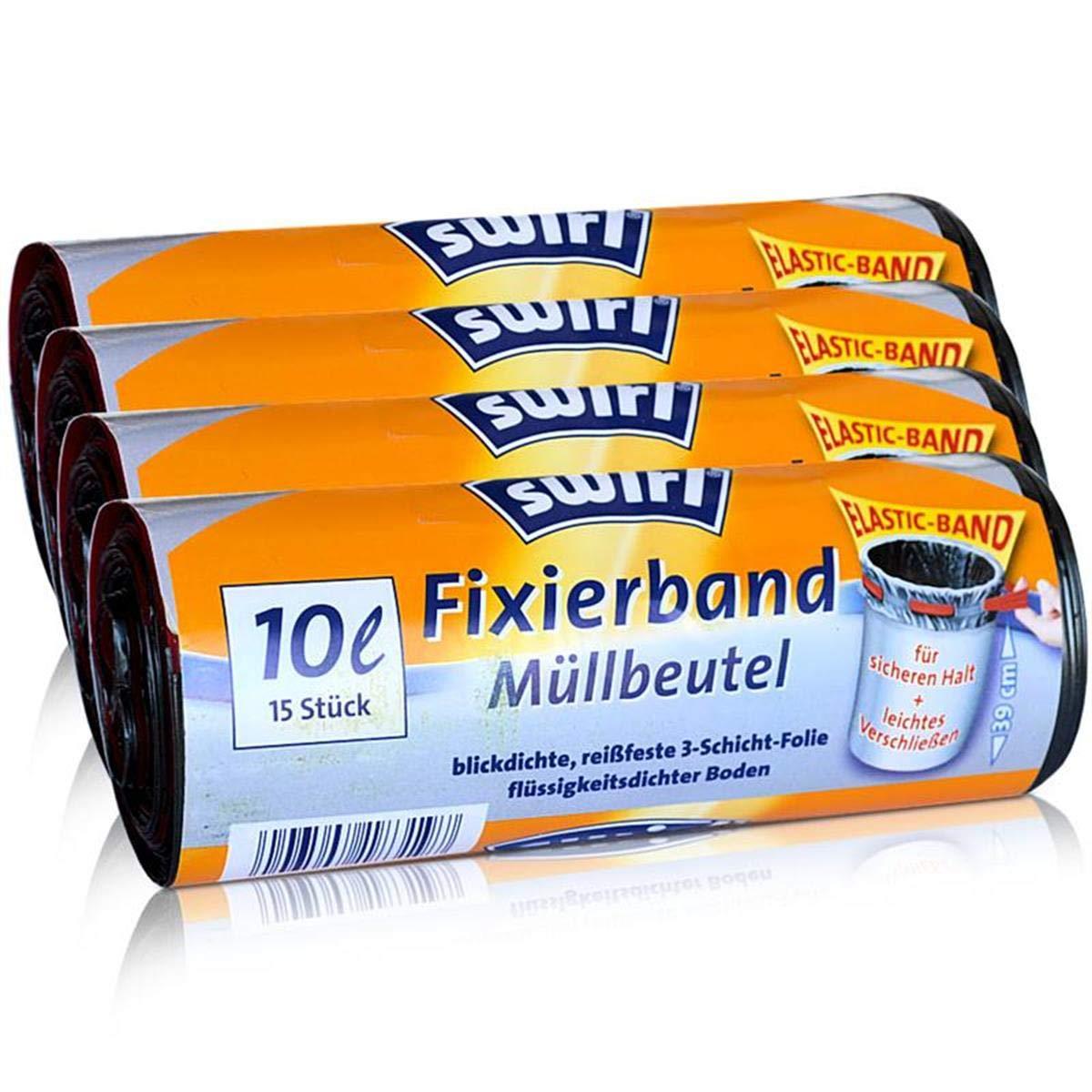 4x Swirl Fixierband Müllbeutel 10L ( 15 stk./Rolle )