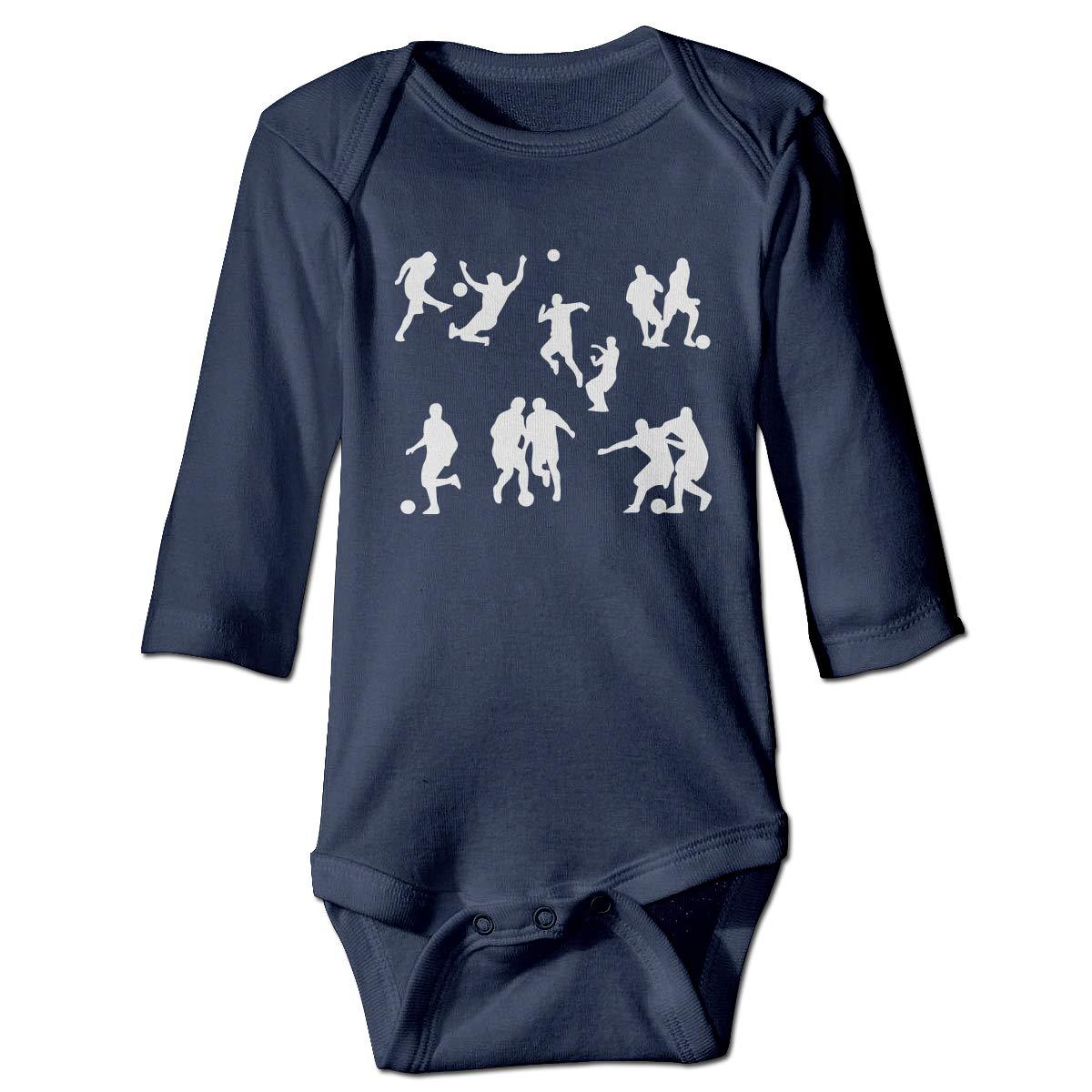 Just Born Baby Boys Girls Romper Bodysuit Infant Football Player Silhouette1 Long Sleeve Funny Climb Romper
