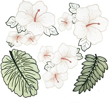 5pcs Flower Plant Patches Embroidered Iron On Applique for Clothes Dress DIY