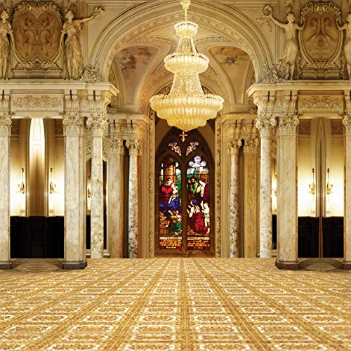Price comparison product image SJOLOON 10X10FT Palace Backdrop Church European Golden Castle Backdrops for Photography Chandelier Staircase Interior Vinyl Photo Background Girls Lover Wedding Ceremony Studio 3414
