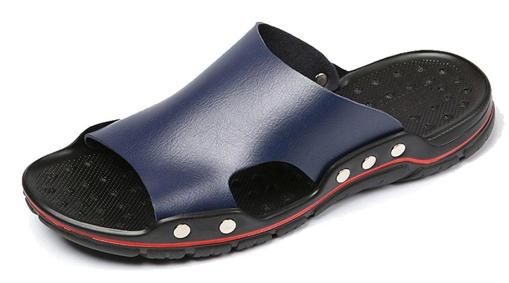 FEMAROLY Male Sandals Non-slip Summer Flip-flops Outdoor Slippers Large size Beach Shoes for Men Deep Blue 12M