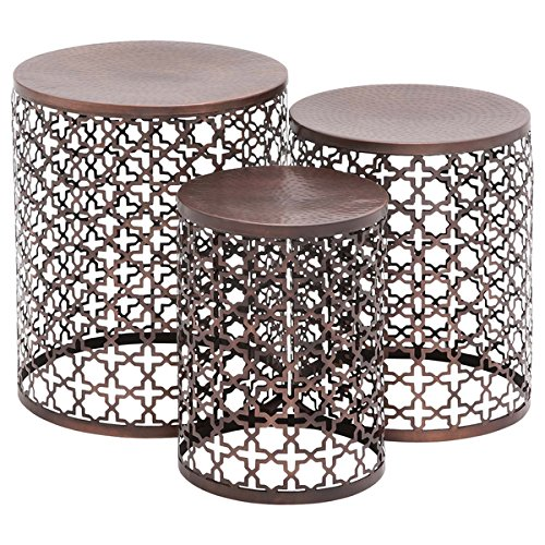(Contemporary Metal Bronze Quatrefoil Accent Side Tables - 23941 Set of Three (3). Pierced Quatrefoil Design, Circular Hammered Tops, and a Round Open Design Frame and Base Patio Side Table. Assembled)