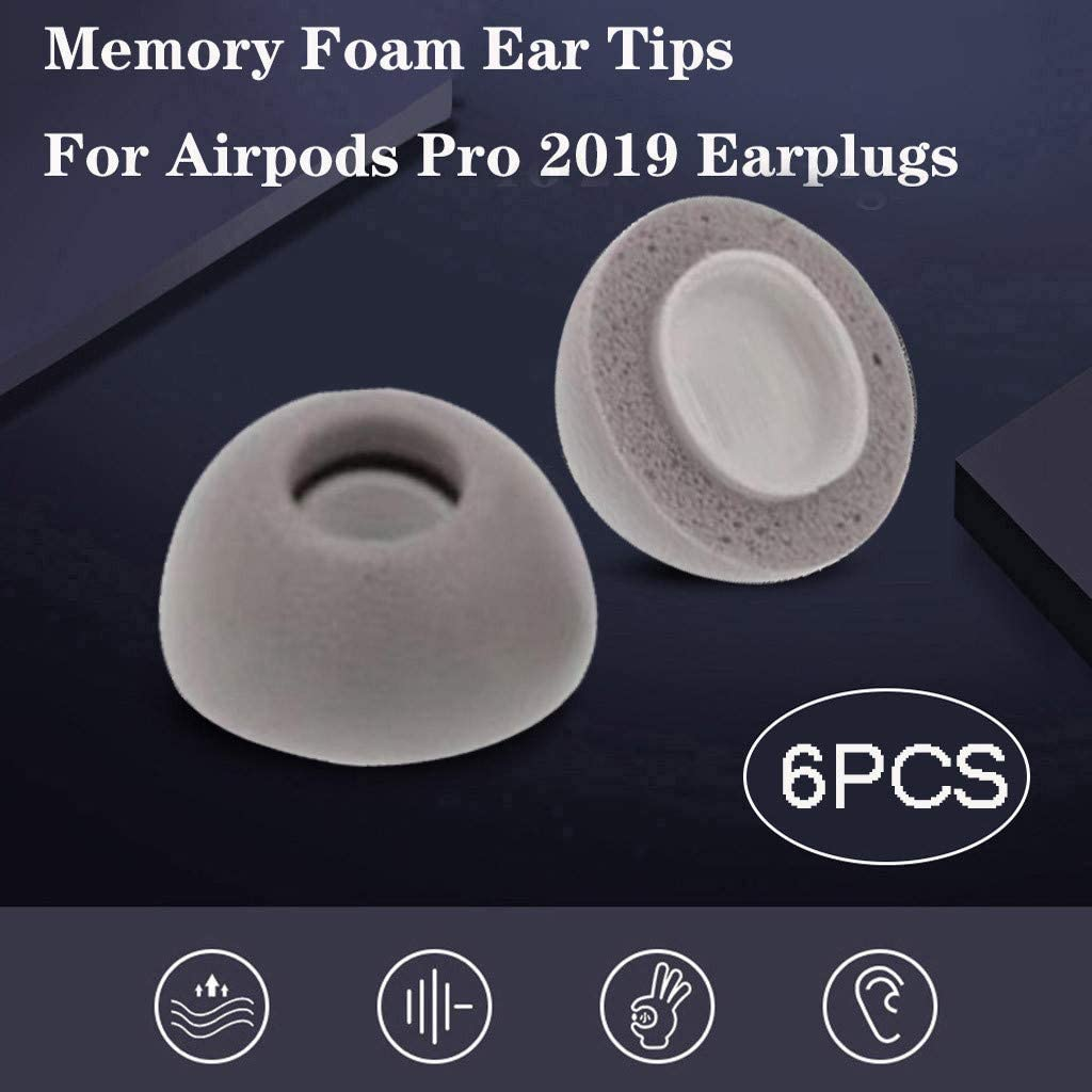 Perfect for Airpods Pro Blocks More Sound Improving Noise Cancellation Ultra Soft Eve.Ruan 6Pcs Replacement Ear Tips Silicone Memory Foam Buds for Airpods Pro Headphones Gray