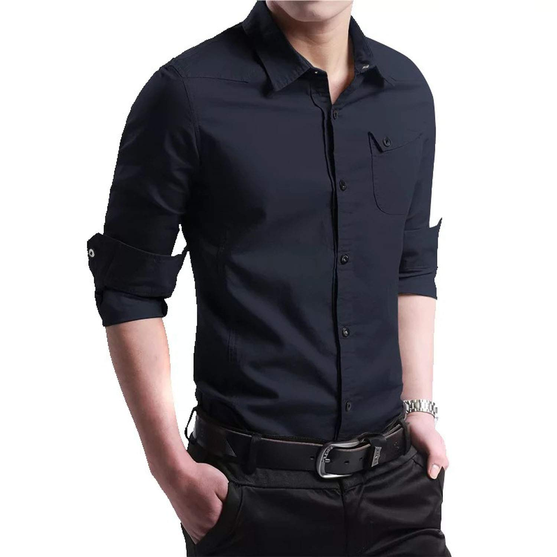 Ting room Brand Men Shirt Solid Color Military Shirt Men Long Sleeve Casual Shirts,Navy,Asian XXL