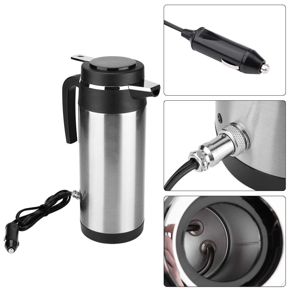 Keenso Car Kettle Boiler 1200ML 12V//24V Stainless Steel Electric In-car Kettle Car Heating Cup Travel Thermoses Heating Water Bottle for Water Tea Coffee Milk 12V