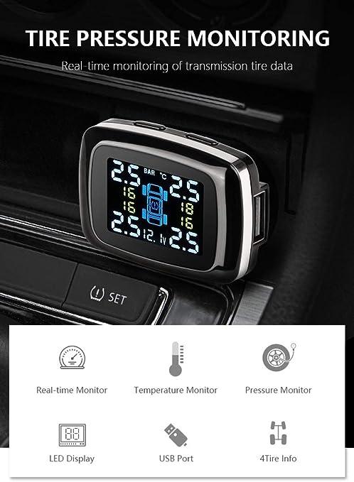 Jansite Tire Pressure Monitoring System TPMS Cigarette Lighter Power with Smart Phone USB Charging Port 4 External Sensors