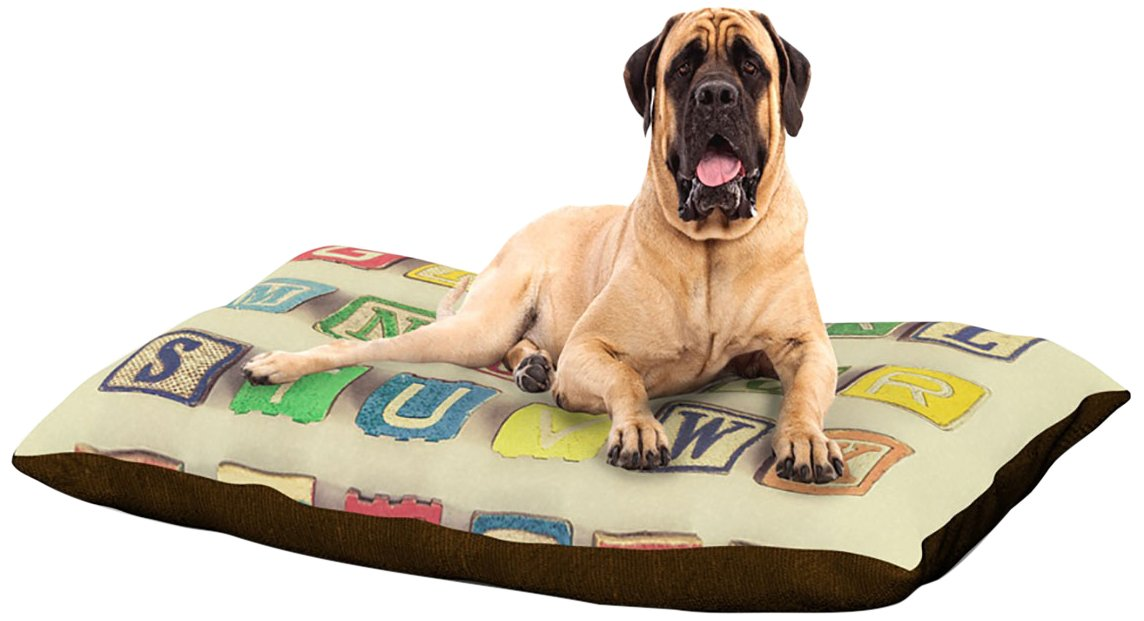 X-Large 40\ Kess InHouse Debbra Obertanec Vintage ABC's  Fleece Dog Bed, 30 by 40-Inch, Wooden Letters