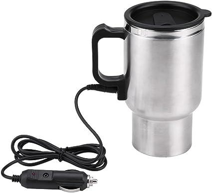 Fydun Taza de la calefacción del Coche 450ml Acero Inoxidable Hervidor eléctrico de coche Hervidor de viaje Taza de café DC 12V Recorrido Taza Bebida ...