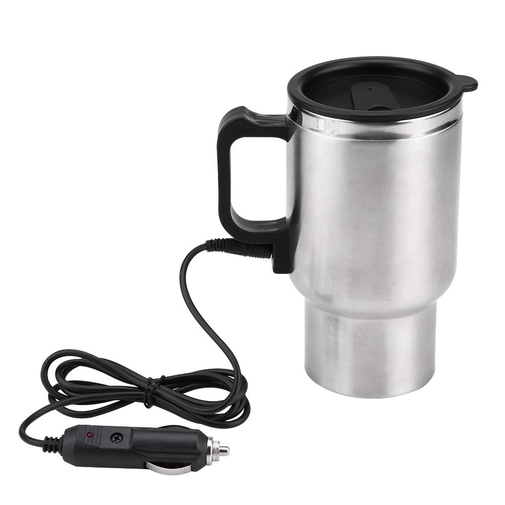 12v Electric Cup for Car,12V Electric In-car Stainless Steel Travel Heating Cup Coffee Tea Car Cup Mug.