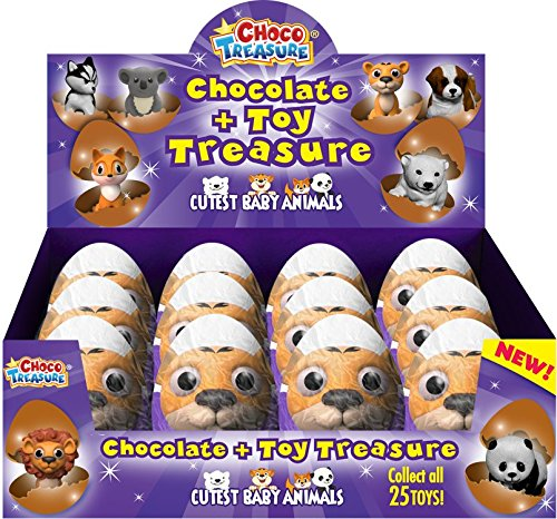 Cutest Baby Animals Choco Treasure Eggs With Toy Surprise | Tray of 12 Eggs | 24 Collectible Toys | Fun For All Ages