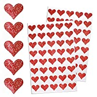 Heart Sticker Glitter Envelopes Seal - Decorative Labels for Stationery, Paperwork and Arts - by Royal Green