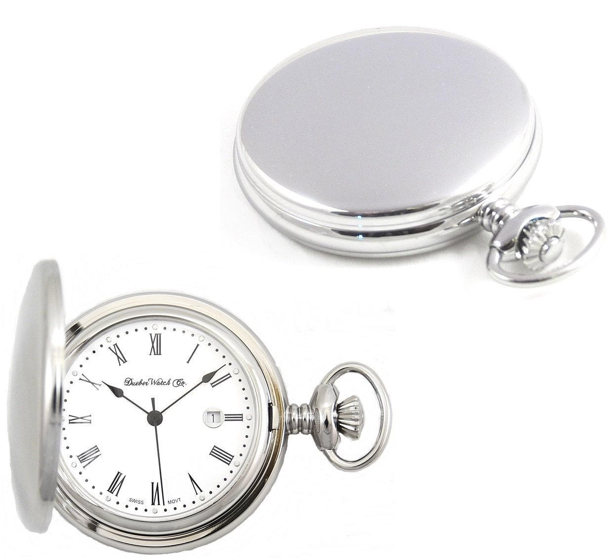 Dueber Watch Co Steel Hunting Case Pocket Watch with Swiss Movement, Roman Numerals