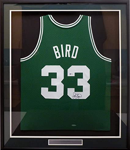 d0f793f87febd Larry Bird Signed Jersey - Framed Green Mitchell & Ness Swingman ...