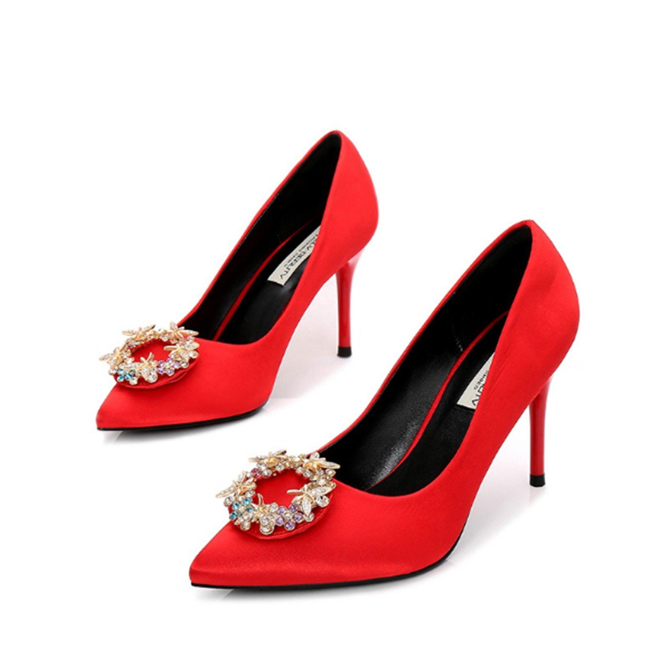 Ruanlei Shoes For Dress Wedding Party/Stiletto High Heel Pumps/Gradient Pointed Toe StilettoTip with fine glass tie, a red,40