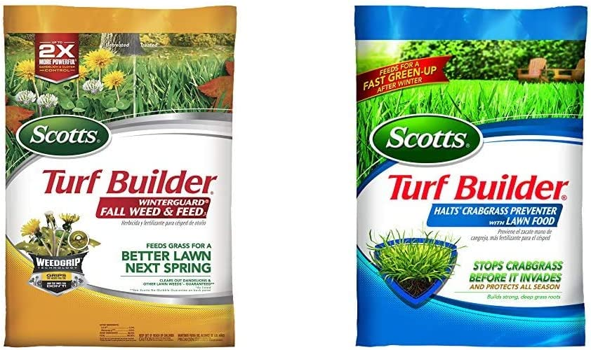 Scotts Turf Builder WinterGuard Fall Weed and Feed 3, 15,000 Sq Ft & Turf Builder Halts Crabgrass Preventer with Lawn Food, 15,000 sq. ft.