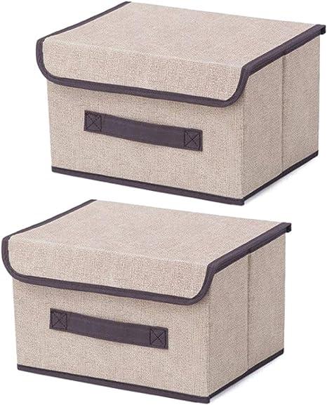 Cajas de almacenaje,Set de 2 Cajas de Almacenaje Cubos de Tela Organizador Plegable con Tapa y Ventana de Etiqueta ...