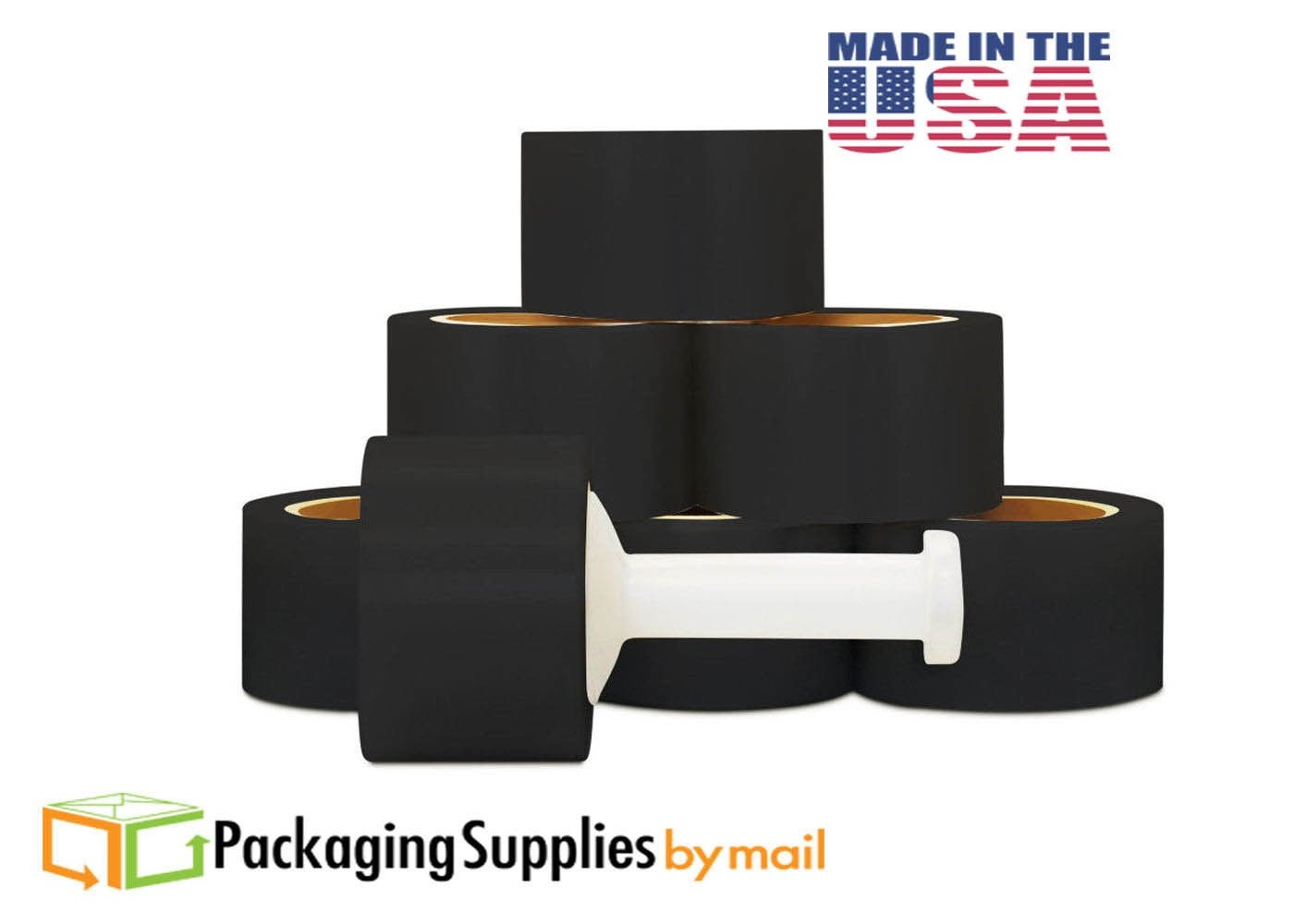 Cast Bundling Black Stretch Wrap Film 3 Inch x 80 Gauge x 1000 Feet 18 Rolls/Case