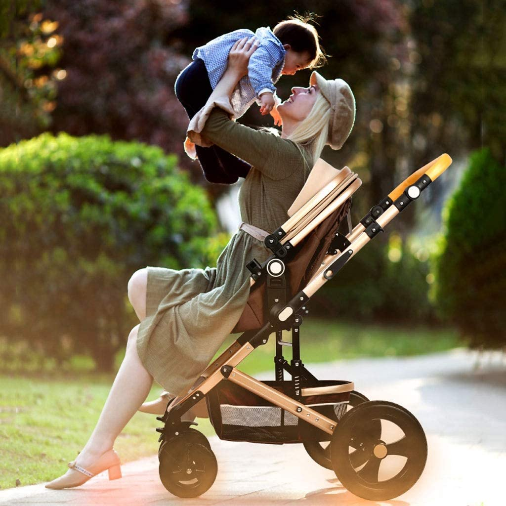 Lightweight Travel Stroller Lightweight Baby Stroller with Carry Handle Color : Blue Rose Gold Frame and Navy Blue Canopy