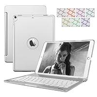 iPad 9.7 2017/2018 Tastiera Custodia, supporto in alluminio Dingrich per tablet leggero Folio Custodia per cover rigida con custodia rigida con Bluetooth 7 LED Colore retroilluminazione Custodia per tastiera per iPad 5th iPad 9.7 Rilasciato nel 2017 (Modello A1822 / A1823) 2018 (A1893 / A1954) + Proteggi schermo + Penna stilo, Tastiera Custodia per Apple iPad 9.7 2017/2018 (iPad 9.7, Argento) (Argento)