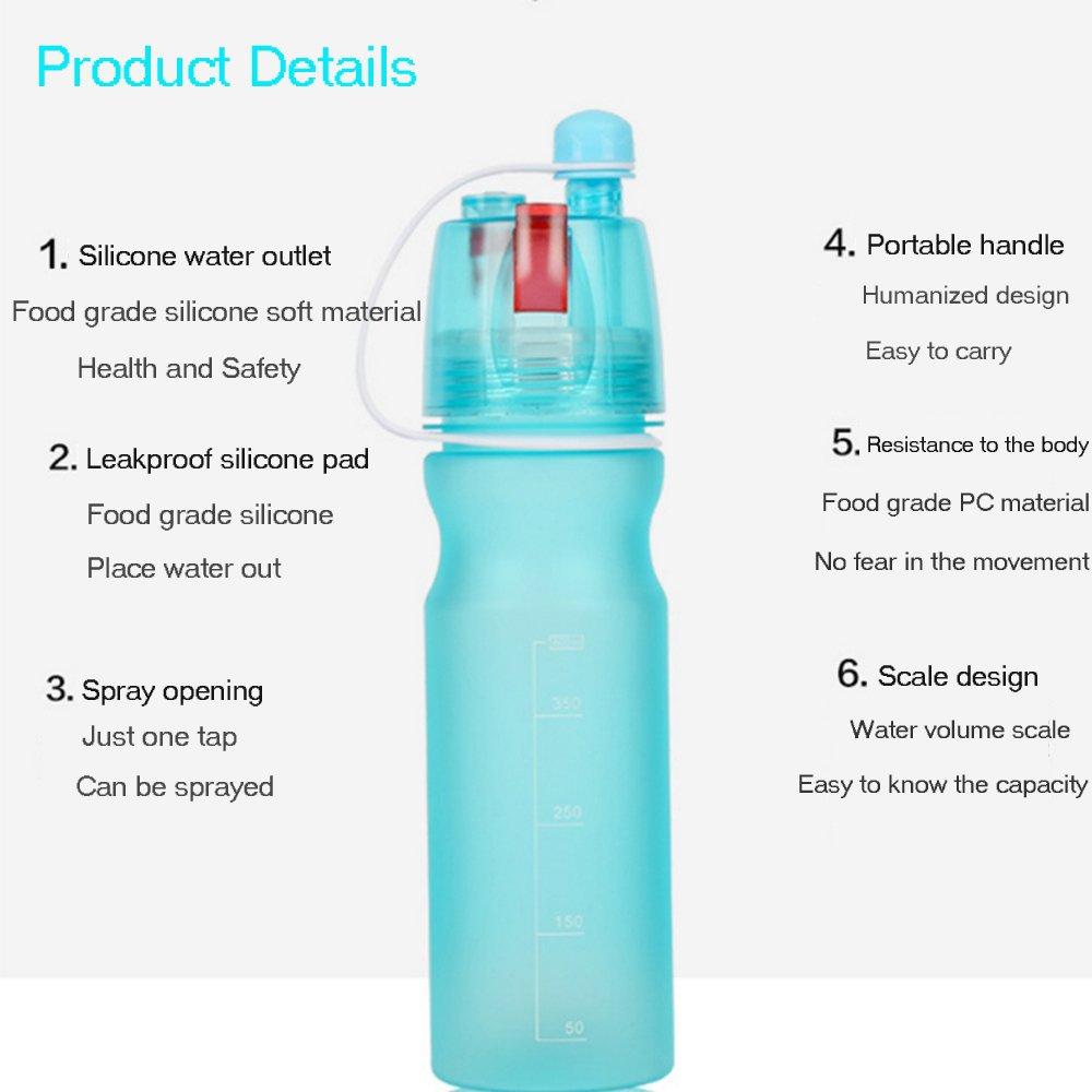 LWR Botella de Spray Portátil para Exteriores - Gran Capacidad - al Aire Libre, Senderismo, Camping, Deportes Botella de Agua Spray Enfriador (600 ML), ...