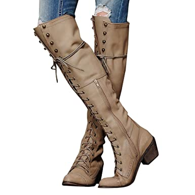 c230ee88b6f Amazon.com  Meilidress Womens Winter Cowgirl Boots Knee High Tall Riding  Leather Strappy Lace Up Flat Shoes  Clothing