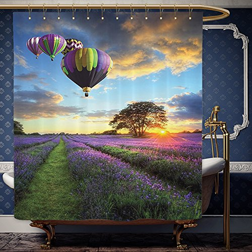 Wanranhome Custom-made shower curtain Lavender Farmhouse Decor Lonely Tree in a Lavender Flowers Field at Summer Sunset Air Balloons Set Purple Green Blue For Bathroom Decoration 60 x 78 - Map Sunset Galleria At