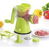 KitchenNinja 3-in-1 Multifunzione Tritacarne Manuale, Tritacarne, Verdure Grinder, Pasta Maker Con aspirazione (Verde)