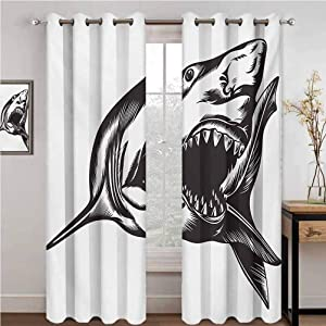 Shark 100% blackout lining curtain Digital Sketch of Wild Fish with Open Mouth Power King of the Ocean Illustration Full shading treatment kitchen insulation curtain W108 x L84 Inch Dark Grey White