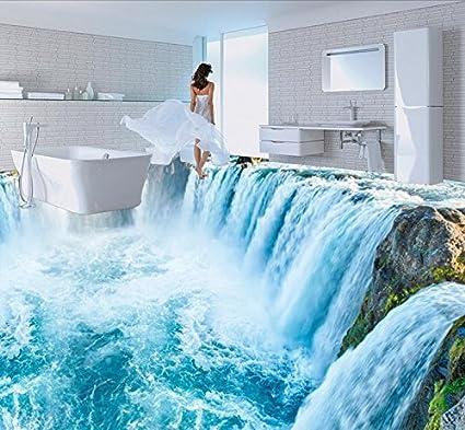Lwcx Pvc Vinyl Flooring Custom 3d Stereoscopic Wallpaper Waterfall